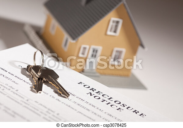 Foreclosure Notice, House Keys and Model Home on Gradated Background with Selective Focus. - csp3078425