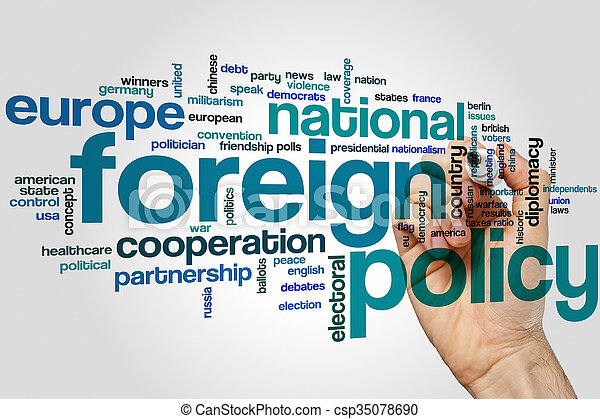 Foreign policy word cloud - csp35078690