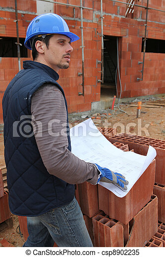 Foreman on a construction site - csp8902235