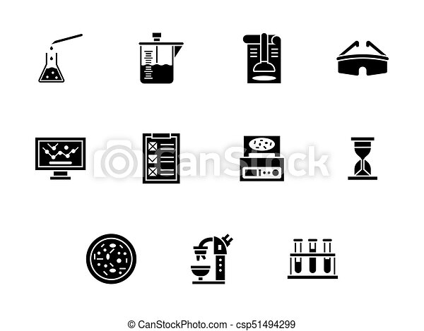 Forensic Laboratory Glyph Style Vector Icons Set Abstract Monochrome Symbols Of Forensic Laboratory Biochemistry Research