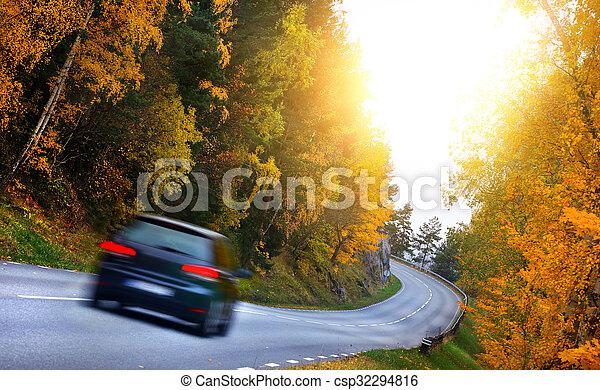 fores, automobilen, vej - csp32294816