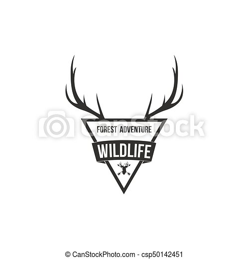 Forest Adventure with Antlers Badge Logo Design Template - csp50142451