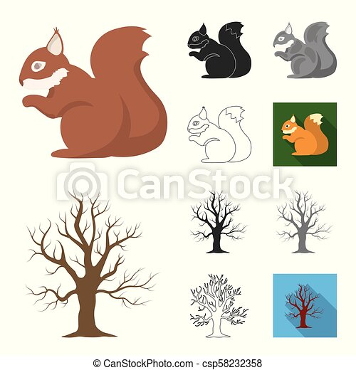 Forest and nature cartoon, black, flat, monochrome, outline icons in set collection for design. Forest life vector symbol stock web illustration. - csp58232358