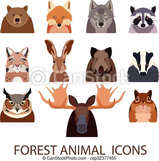 Forest animal flat icons - csp32377455
