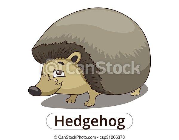 Forest animal hedgehog cartoon vector illustration - csp31206378