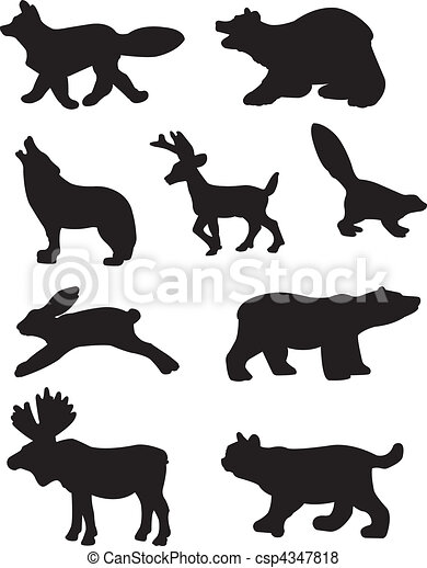Forest Animal Silhouettes - csp4347818