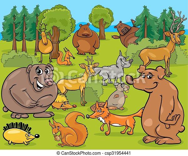 forest animals cartoon illustration - csp31954441