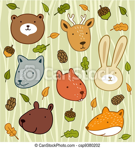 Forest animals set with leaves and acorns isolated on wooden background - csp9380202