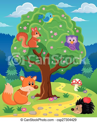 Forest animals topic image 3 - csp27304429