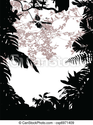 forest background silhouette - csp6971409