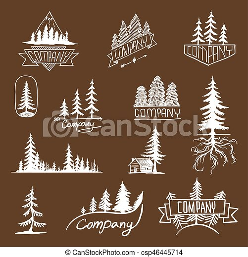 Forest badge tree vector collection - csp46445714