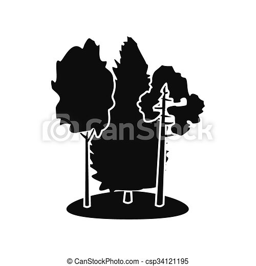 Forest black simple icon  - csp34121195
