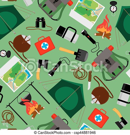 Forest Camp Seamless Pattern Vector Tourist Camping Background
