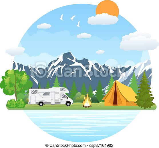 Campsite Place In Mountain Lake Forest Camping Landscape With Rv Traveler Bus Flat Design Summer Camp Camper Caravan Vector Illustration