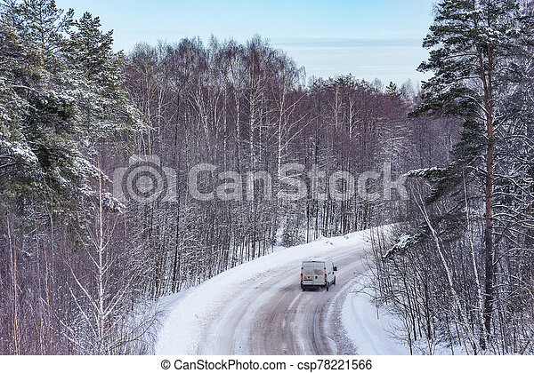 forest., coche, invierno, camino - csp78221566