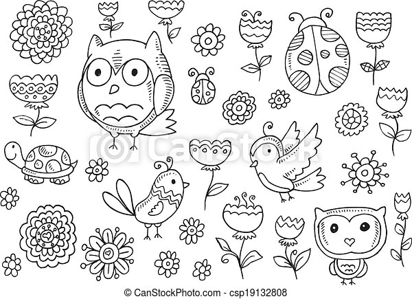 Forest creatures spring Flower Set - csp19132808