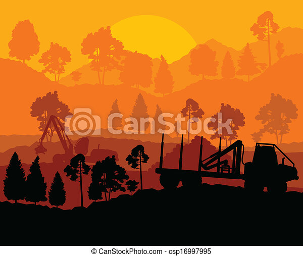 Forest cut down landscape with wood - csp16997995