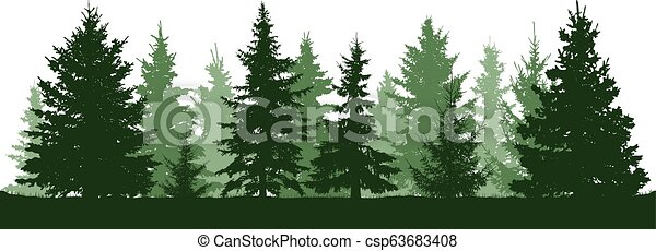 Christmas Trees Silhouette.Forest Fir Trees Silhouette Coniferous Green Spruce Christmas Tree Vector Illustration On White Background
