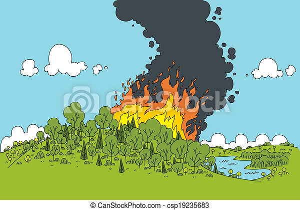 Forest Fire A Cartoon Fire Rages In A Green Forest