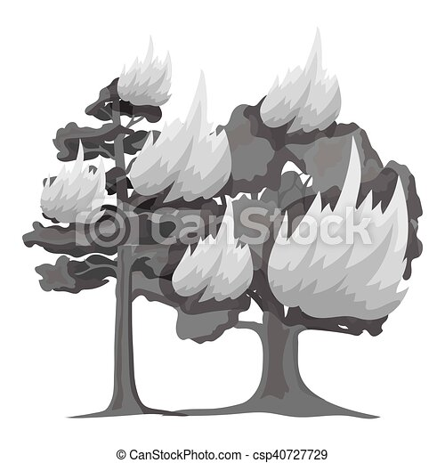 Forest fire vector icon in monochrome style for web - csp40727729