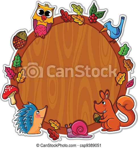 Forest frame. Wooden board decorated with forest animals ...