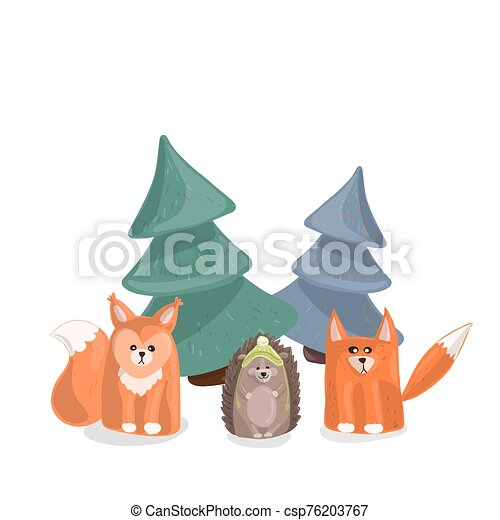 Forest inhabitants under the Christmas trees on a white background. - csp76203767