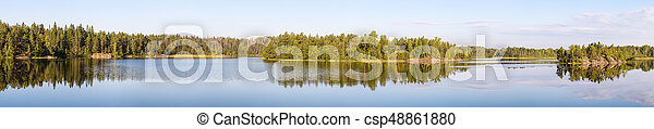 forest lake with reflections - csp48861880
