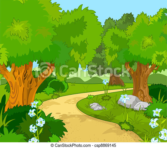 a green forest landscape with trees and flowers rh canstockphoto com clipart forest from birds eye view clipart foresta