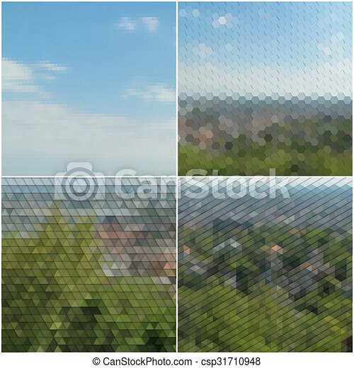 Forest landscape. Collection of abstract multicolored backgrounds. Natural geometrical patterns. Triangular and hexagonal style vector illustration - csp31710948