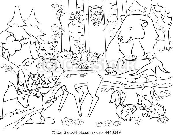 Forest landscape with animals coloring vector for adults. Forest ...