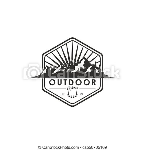 Forest, Mountain Adventure Deer Antlers, Black And White Badge Vector Logo - csp50705169