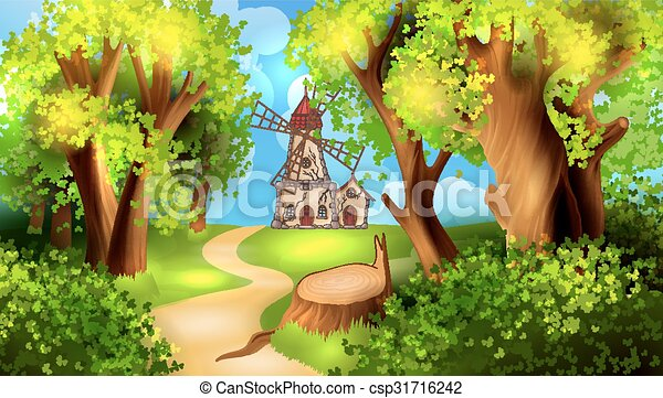 Forest road with windmill on background - csp31716242