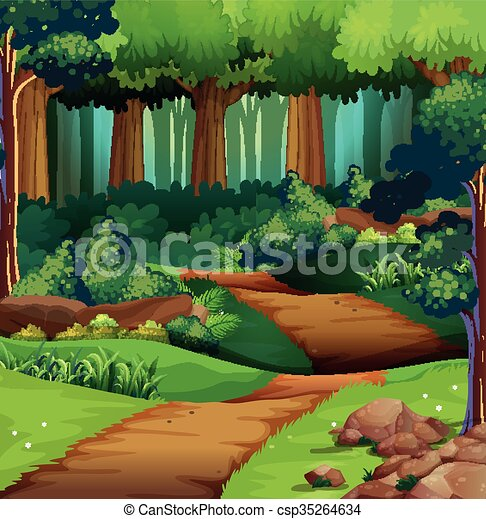 Forest scene with dirt trail - csp35264634