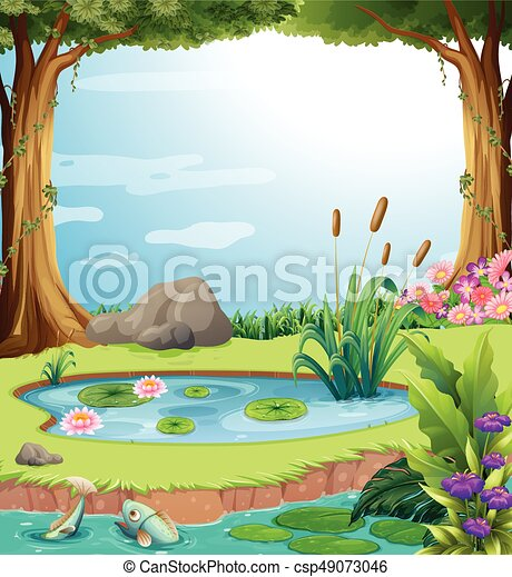 Forest scene with fish in the pond illustration eps vector for Forest scene drawing