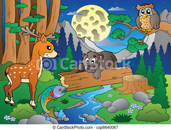 Forest scene with various animals 2 - csp6640067