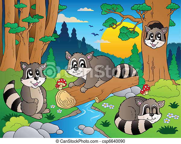 Forest scene with various animals 7 - csp6640090