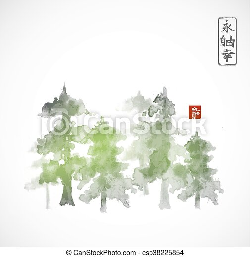 Forest trees hand drawn with ink - csp38225854