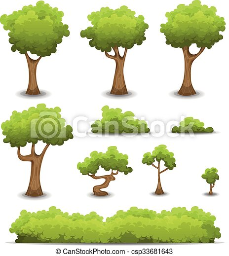 Forest Trees, Hedges And Bush Set - csp33681643