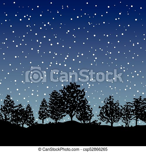 Forest trees silhouettes background - csp52866265
