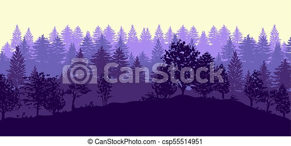 Forest trees silhouettes background - csp55514951