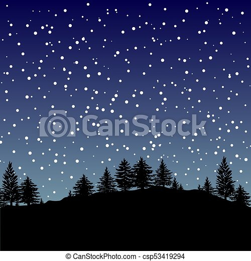 Forest trees silhouettes background - csp53419294