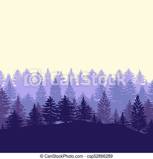Forest trees silhouettes background - csp52866289