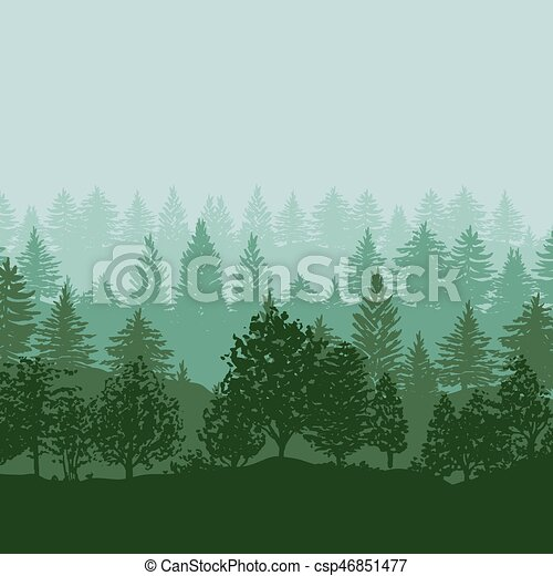 Forest trees silhouettes background - csp46851477