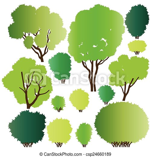 Forest trees silhouettes - csp24660189