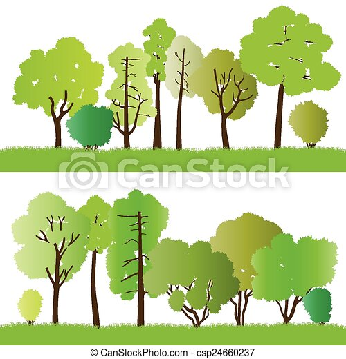 Forest trees silhouettes - csp24660237