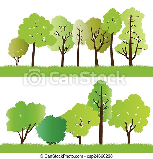 Forest trees silhouettes - csp24660238