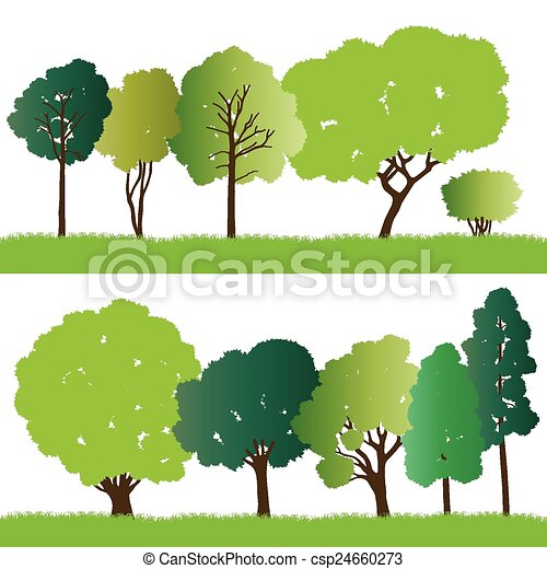 Forest trees silhouettes - csp24660273