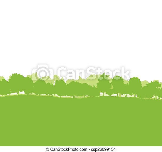 Forest trees silhouettes landscape  - csp26099154