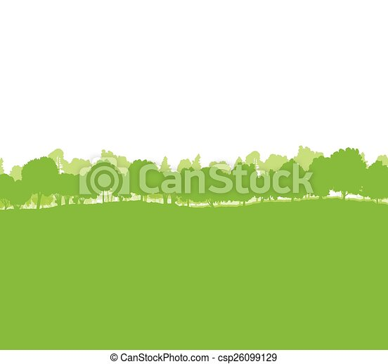 Forest trees silhouettes landscape - csp26099129