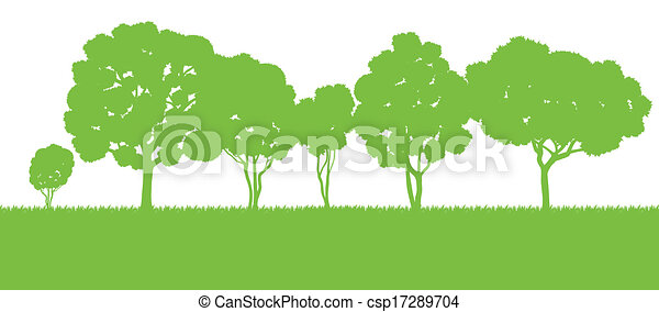 Forest trees silhouettes landscape illustration background ...
